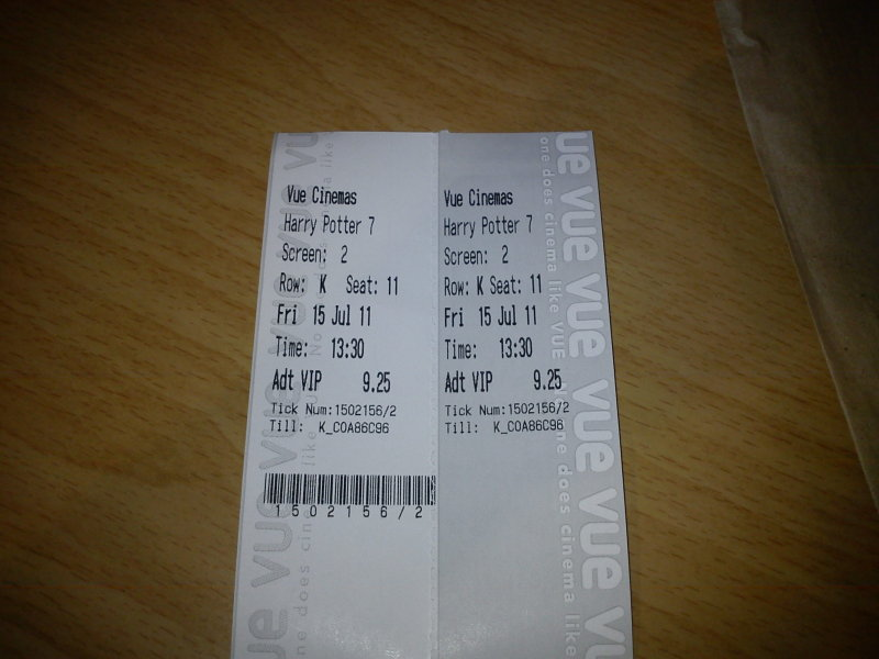Harry Potter 7 ticket